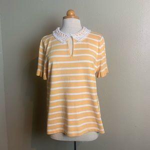 Karl lagerfeld yellow white sweater large ccc2